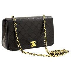 CHANEL Full Chain Flap Shoulder Bag Black Quilted Lambskin