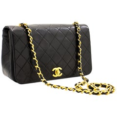 CHANEL Full Chain Flap Shoulder Bag Black Quilted Lambskin Leather