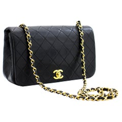 CHANEL Full Chain Flap Shoulder Crossbody Bag Black Quilted Lamb