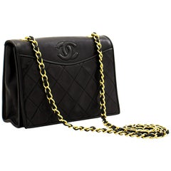CHANEL Full Flap Classic Chain Shoulder Bag Black Quilted Lambskin