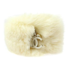 Chanel Fur Pearl Silver Evening Cuff Bracelet in Box