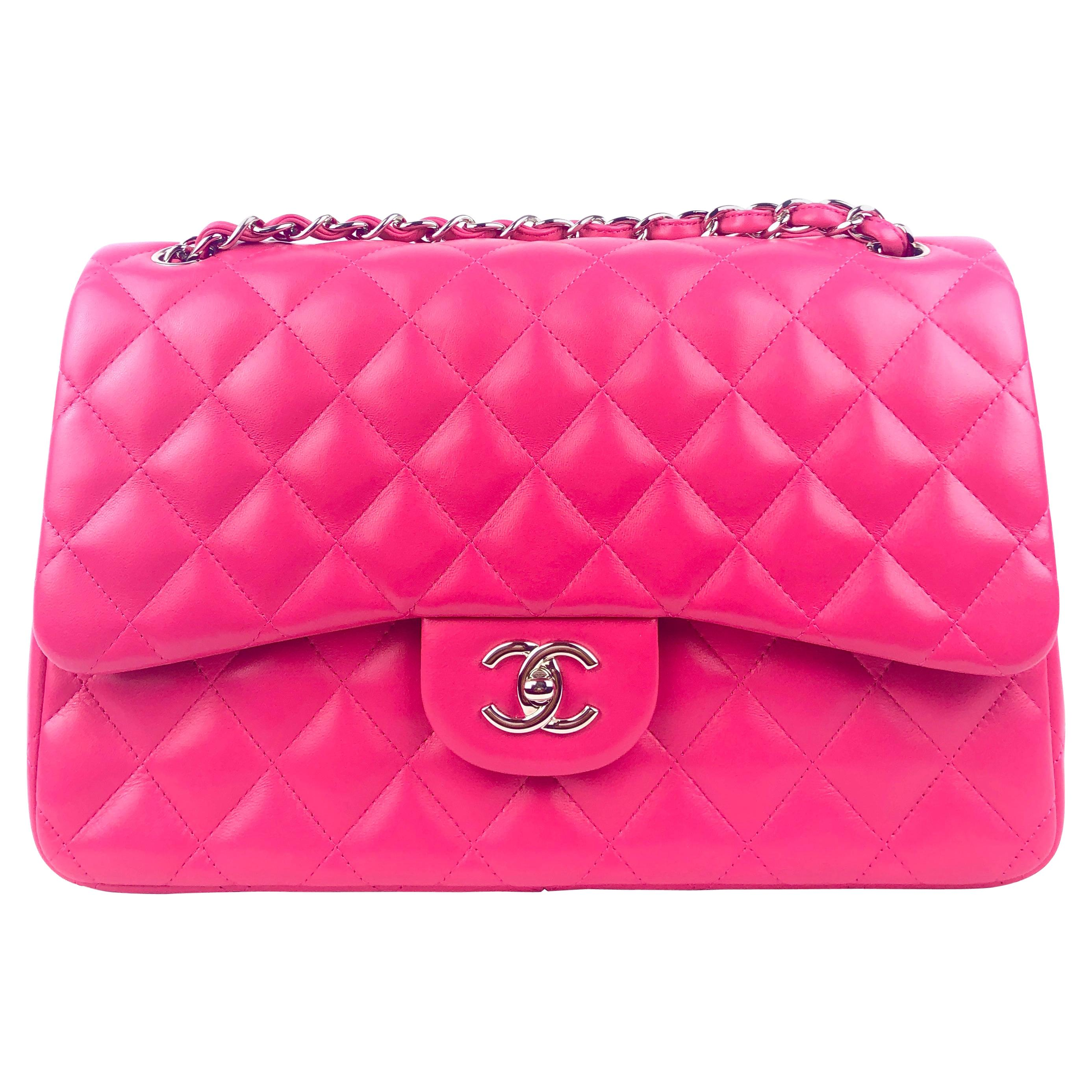 Chanel Fuschia Lambskin Jumbo Classic Double Flap Bag