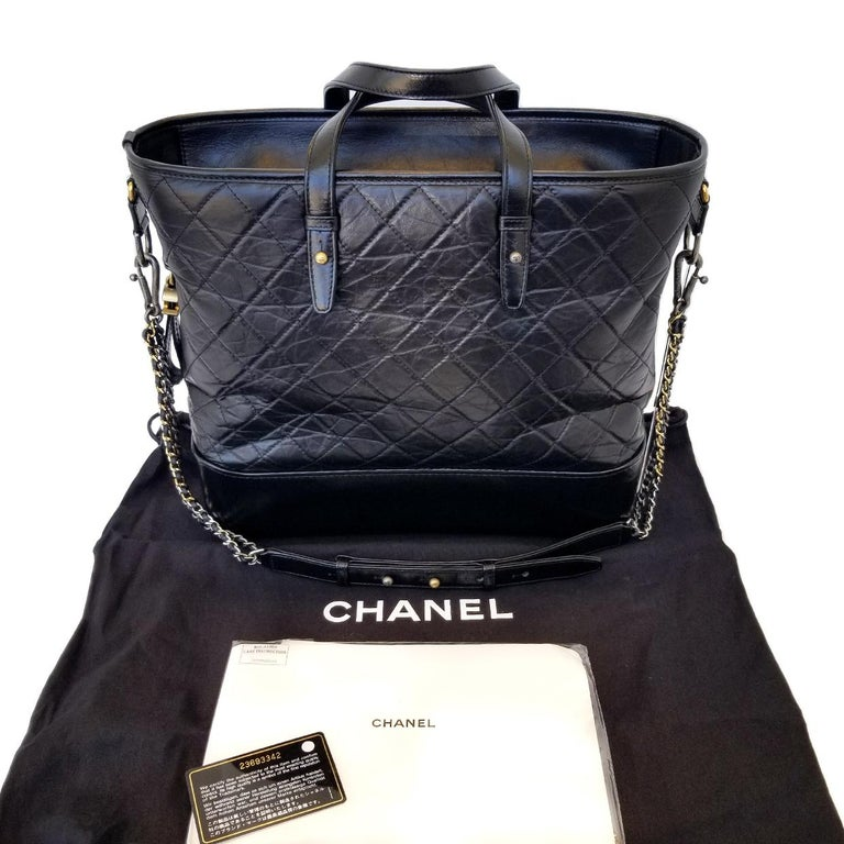 Chanel Gabrielle Black Quilted Hobo Bag For Sale 2