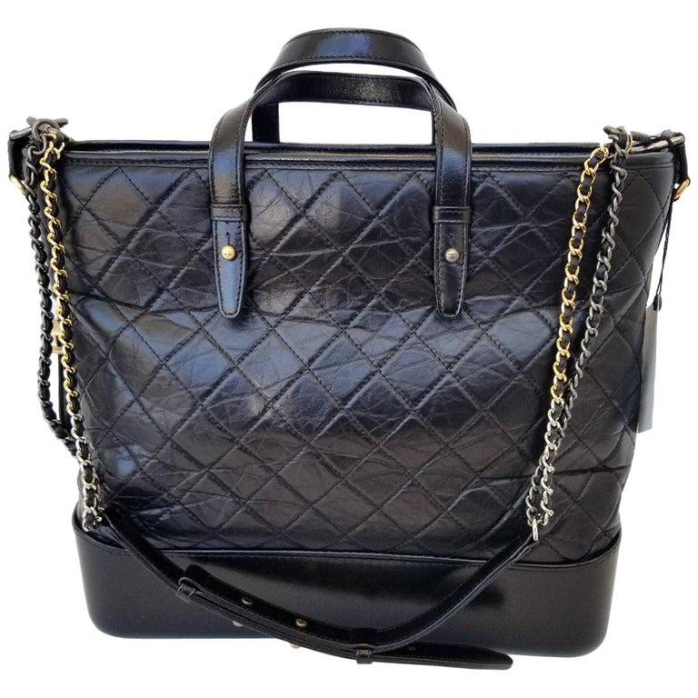 Chanel Gabrielle Black Quilted Hobo Bag For Sale