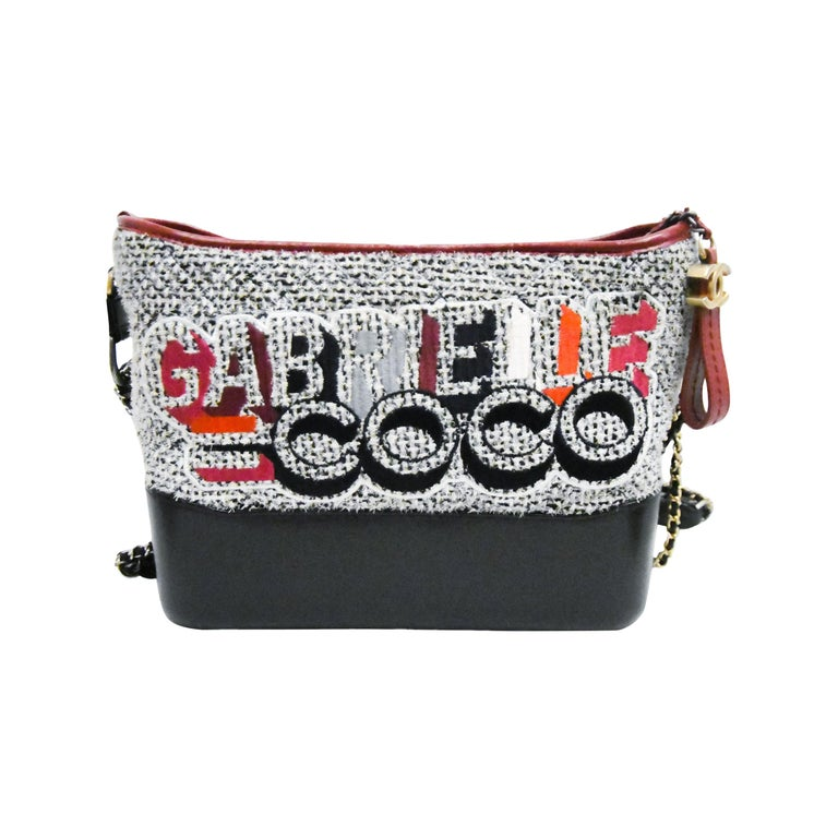 Chanel Gabrielle Coco Tweed & Leather 2017 Collection Shoulder Bag For Sale