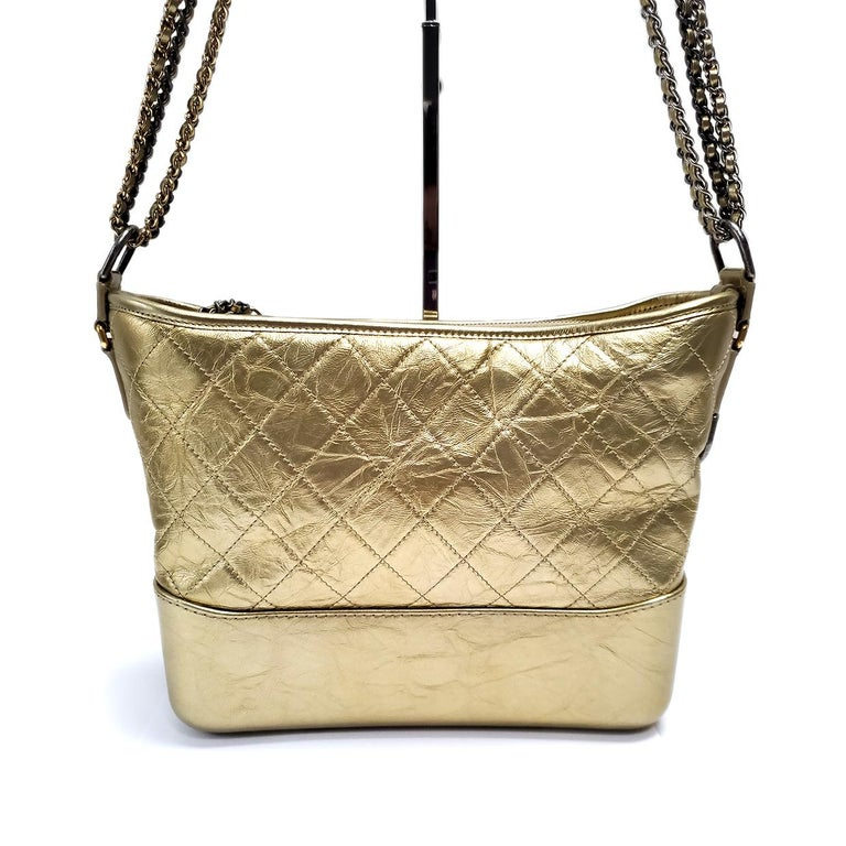 Chanel Gabrielle Gold Quilted Hand Bag In Excellent Condition For Sale In Columbia, MO