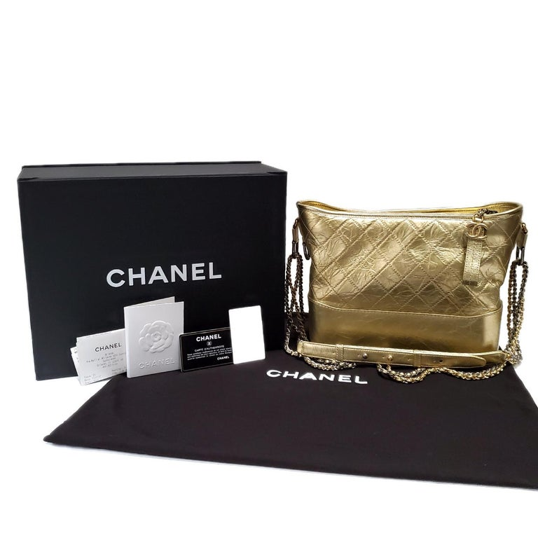 Women's Chanel Gabrielle Gold Quilted Hand Bag For Sale