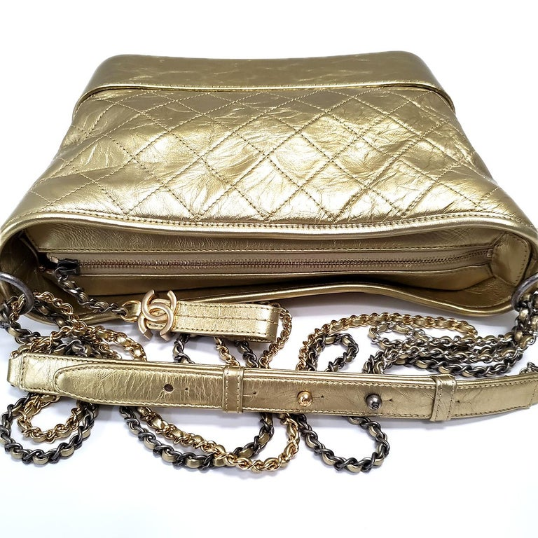 Chanel Gabrielle Gold Quilted Hand Bag For Sale 1