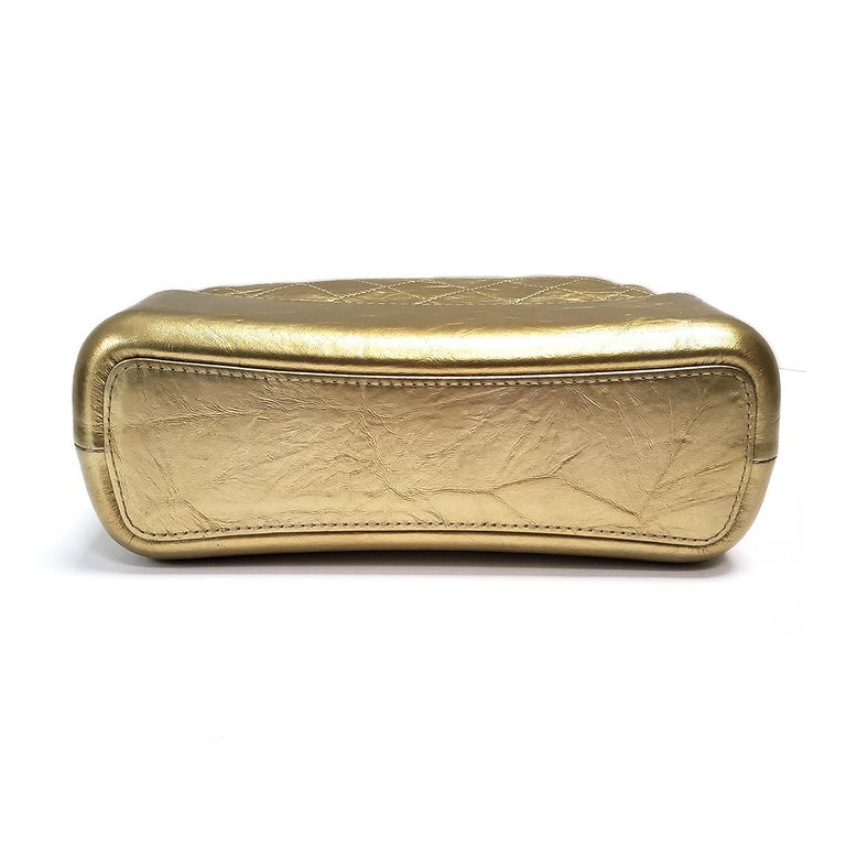 Chanel Gabrielle Gold Quilted Hand Bag For Sale 2
