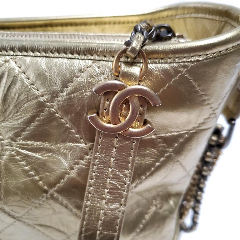 Chanel Gabrielle Gold Quilted Hand Bag For Sale 3