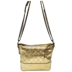 Chanel Gabrielle Gold Quilted Hand Bag