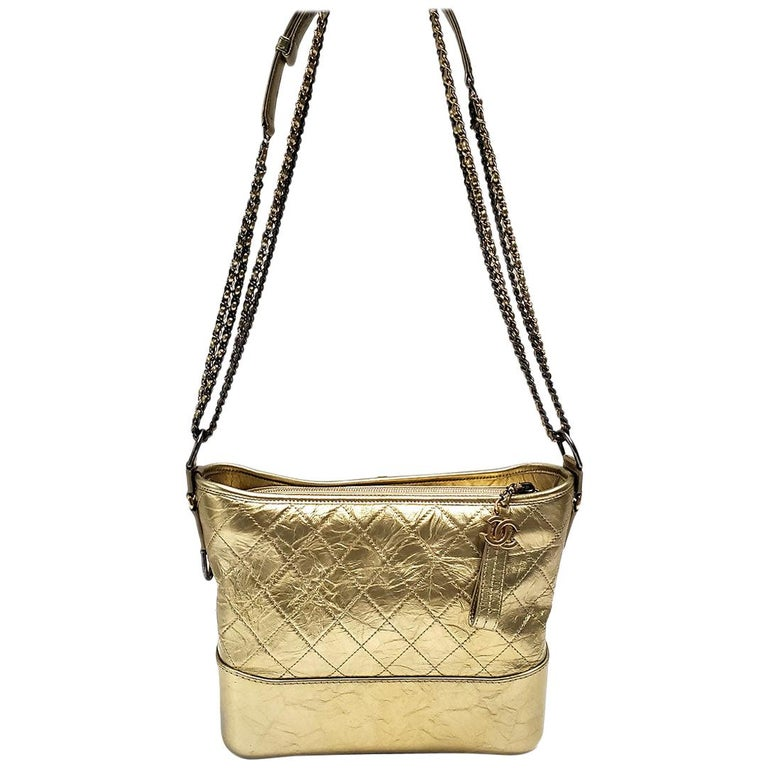 Chanel Gabrielle Gold Quilted Hand Bag For Sale
