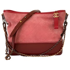 Chanel Gabrielle Hobo Suede Red Pink Medium Handbag Bag