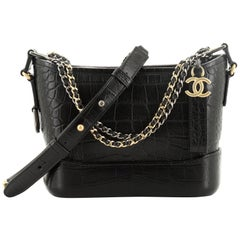 Chanel Gabrielle Hobo Crocodile Embossed Calfskin Small