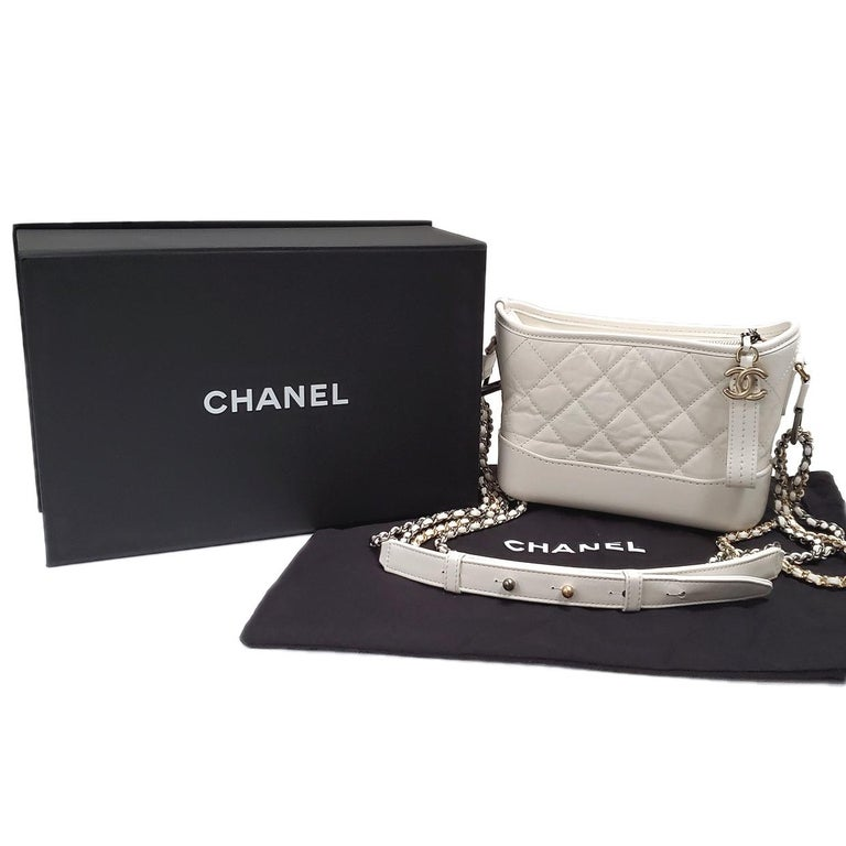 Chanel Gabrielle Ivory Quilted Hobo Bag For Sale 4