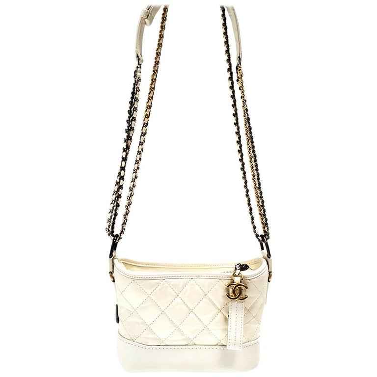 Chanel Gabrielle Ivory Quilted Hobo Bag For Sale