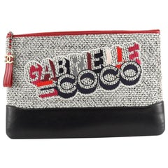 Chanel Gabrielle Logo O Case Clutch Quilted Tweed and Calfskin Large