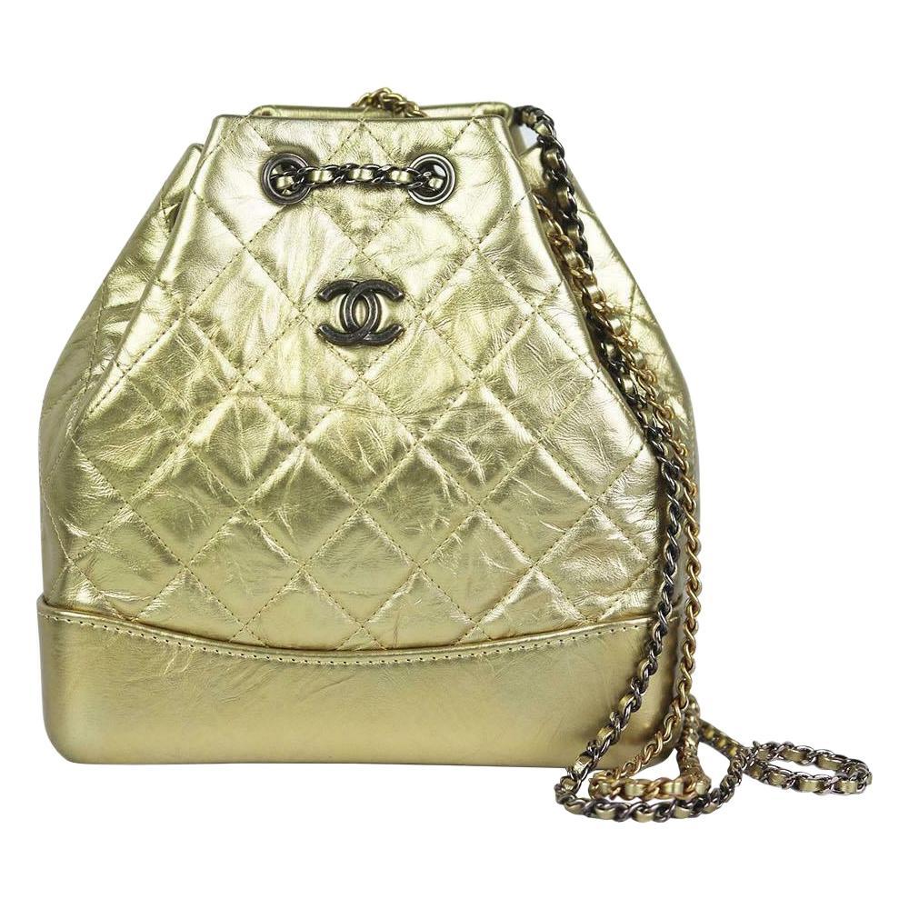 Chanel Gabrielle Medium Metallic Quilted Age Calfskin Backpack