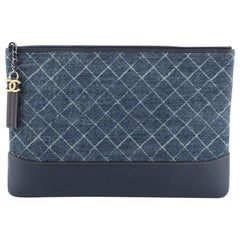 Chanel Gabrielle O Case Clutch Printed Denim Large