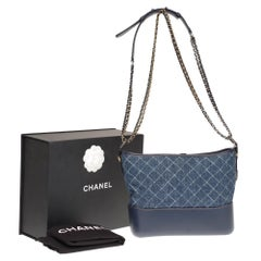 Chanel Gabrielle small size hobo bag in denim with gold and silver hardware
