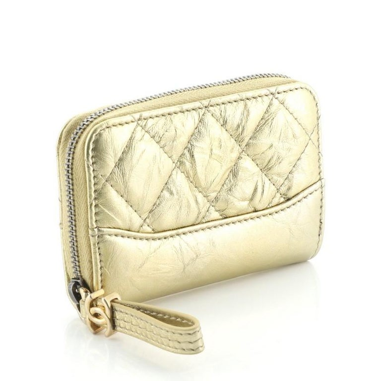 Chanel Gabrielle Zip Coin Purse Quilted Aged Calfskin Small In Good Condition For Sale In New York, NY