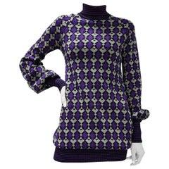 CHANEL Geometric Knitted Sweater Dress Tunic