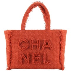 Chanel Giant Logo Shopping Bag Quilted Tweed Medium