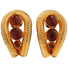 Chanel Gilt Gold Earrings with Poured Glass Cabochons