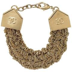 Chanel Gilt Metal And Rhinestones Multi Chain Bracelet