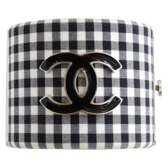 Chanel Gingham Resin CC Cuff circa 2011