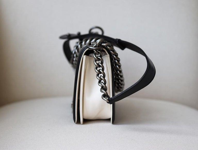 Black Chanel Glazed Calfskin Leather Boy Flap Bag For Sale