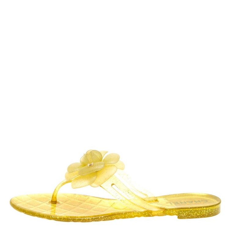 6ebbafd63bad Chanel Glitter Jelly CC Camellia Flat Sandals Size 37 For Sale at ...