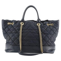 Chanel Globetrotter Drawstring Shopping Tote Quilted Iridescent Caviar Large