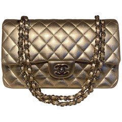 Chanel Gold 10inch 2.55 Double Flap Classic Shoulder Bag