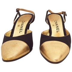 Chanel Gold and Black Silk Slingback Heels. Size 40
