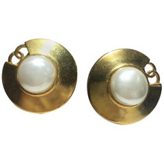 Chanel Gold And Mobe Pearl Earings With Signature Interlocking CC.  Great Scale.