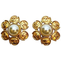 Chanel Gold and Pearl Logo Earrings, 1995 Collection