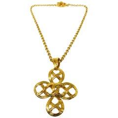 Chanel Gold Basket Weave Cross Charm CC Evening Drop Link Pendant Chain Necklace