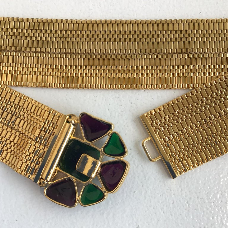 Women's or Men's Chanel Gold Belt with Gripoix Glass Embellishments  For Sale