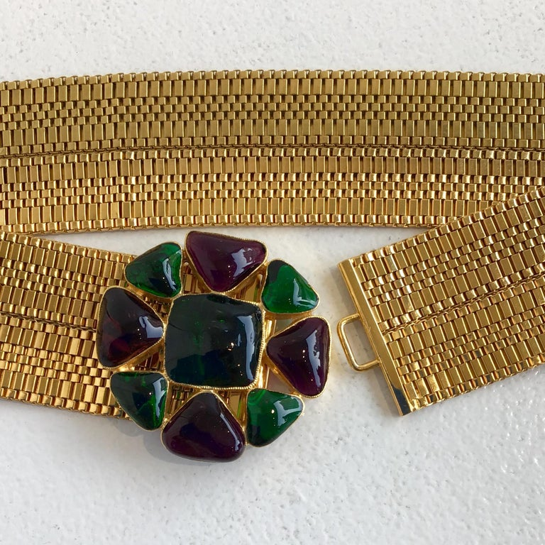 Chanel Gold Belt with Gripoix Glass Embellishments  For Sale 1