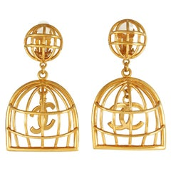 Chanel Gold Birdcage Vintage Earrings