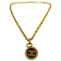 Chanel Gold Black Charm Logo Round Statement Evening Dangle Chain Necklace