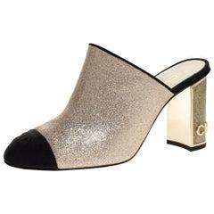 Chanel Gold/Black Glitter Leather CC Cap Toe Mules Size 38C