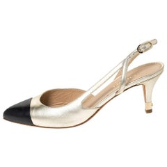 Chanel Gold/Black Leather Cap Toe Slingback Sandals Size 38