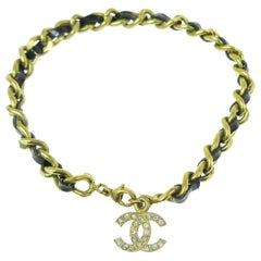 Chanel Gold Black Patent Rhinestone Charm Logo Evening Chain Link Bracelet