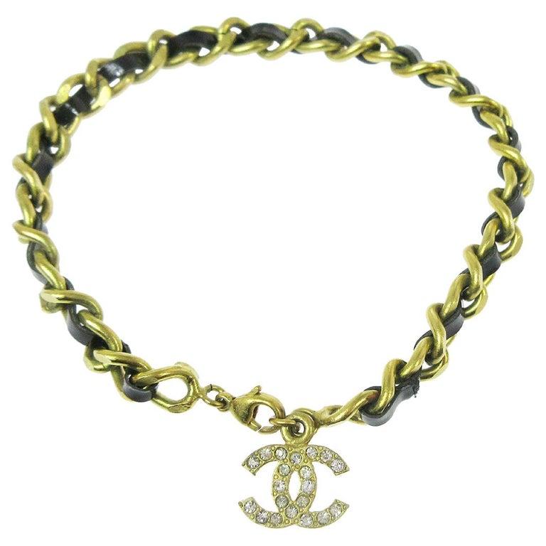 Chanel Gold Black Patent Rhinestone Charm Logo Evening Chain Link Bracelet  For Sale
