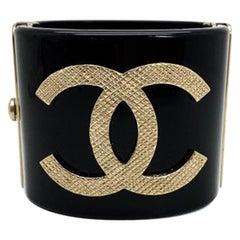 Chanel Gold & Black Resin CC Logo Cuff 2016