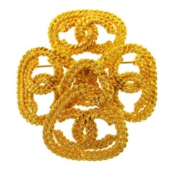 Chanel Gold Braided Textured Cross Charm Evening Lapel Pin Brooch