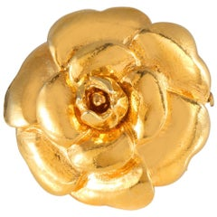 Chanel Gold Camellia Flower Pin