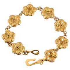 Chanel Gold Camellia Flowers Bracelet